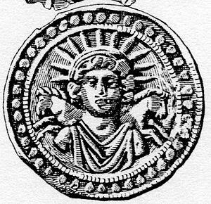 Der Sonnengott Sol auf einem Silberrelief aus Pessinus in Kleinasien (nach Walters 1921).